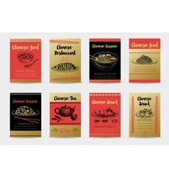 Hand drawn sketch chinese food banners set vector