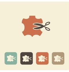 Symbol sewing leather icon vector