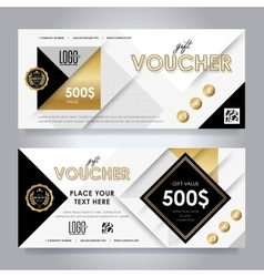 Gold gift voucher template layout vector