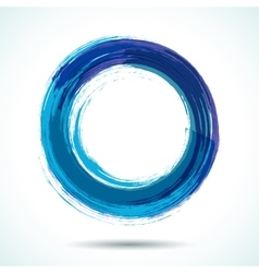 Blue brush painted watercolor circle vector