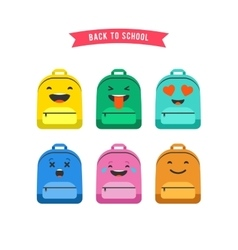 Smiley emoticons and emoji bag backpack set vector image