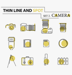 Camera icons and camera accessories icons vector