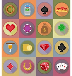 Casino flat icons 20 vector