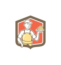Cheesemaker holding parmesan cheese cartoon vector