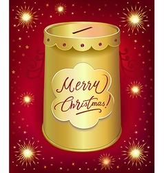 Christmas moneybox tin can vector image vector image
