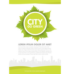 city go green flyer template vector image