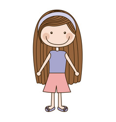 Colorful caricature brown long hair girl with vector