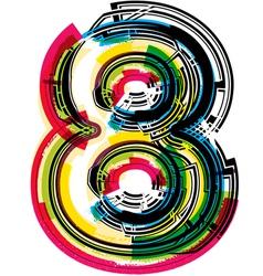 Colorful Grunge font NUMBER 8 vector image