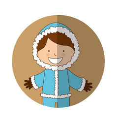 Cute boy with winter clothes vector