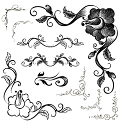 Doodle border and floral patterns hand-drawing vector image vector image