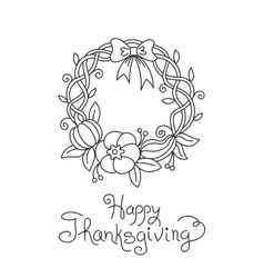 Doodle thanksgiving wreath freehand drawing vector