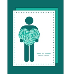 Emerald green plants man in love silhouette vector