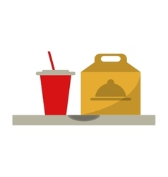 Fast food take out box and plastic cup soda vector