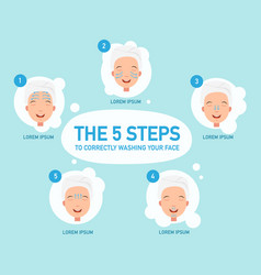 five steps to correctly washing your face vector image
