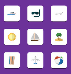 Flat icon season set of boat deck chair yacht vector