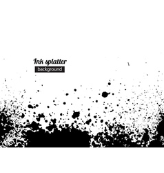 Grunge black ink splattered background vector image vector image