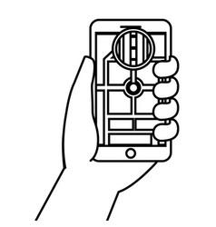 hand holding smartphone gps navigation street vector image