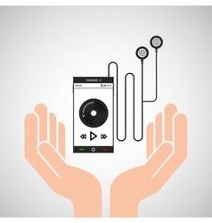 Hand mobile phone play music heaphone vector