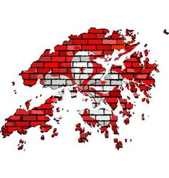 Hong Kong map on a brick wall vector image vector image