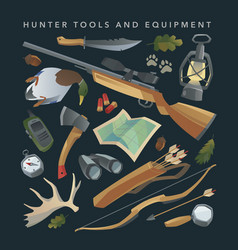 hunter equipment set vector image vector image