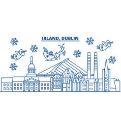 Irland dublin winter city skyline merry vector