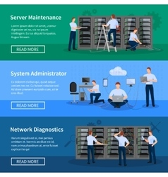 IT Administrator Horizontal Banners vector image