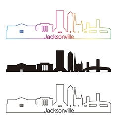 Jacksonville skyline linear style with rainbow vector image