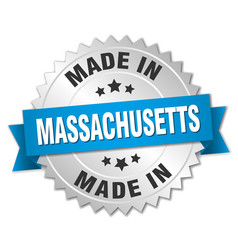 Made in massachusetts silver badge with blue vector