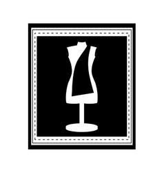 Monochrome manikin tailor shop design in frame vector