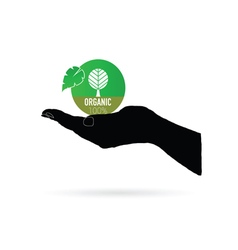 organic icon green in black hand vector image