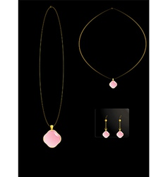Pink stone necklace set vector