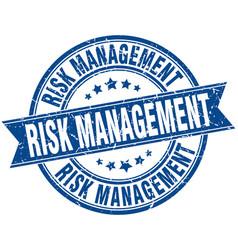 Risk management round grunge ribbon stamp vector