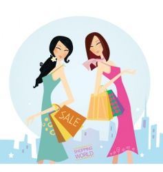 Shopping woman's vector