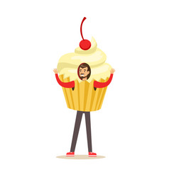 Smiling man wearing cupcake costume puppets food vector