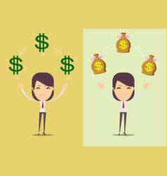 successful happy woman with money set vector image vector image