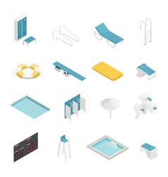 Swimming pool isometric elements set vector