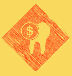 The cost of tooth treatment sign red vector