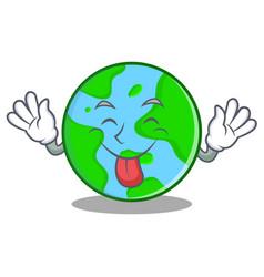 Tongue out world globe character cartoon vector