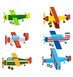 Vintage airplanes cartoon models collection vector