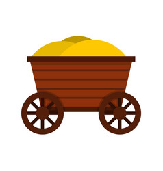 Vintage wooden cart icon flat style vector