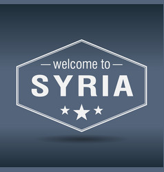 Welcome to syria hexagonal white vintage label vector
