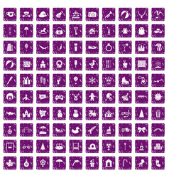 100 happy childhood icons set grunge purple vector image vector image