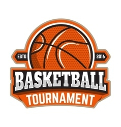 Basketball tournament Emblem template with vector image