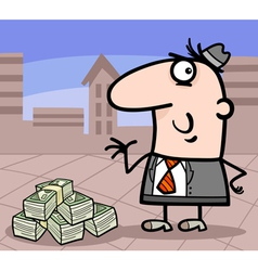 Businessman with money cartoon vector