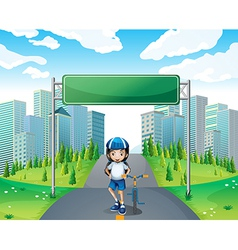 A girl standing below the empty signboard vector