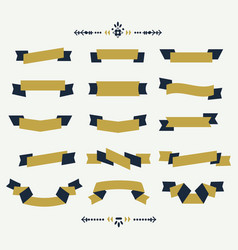 Navy blue and golden ribbon banners icons set vector