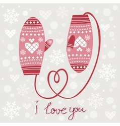 Valentines day card with mittens vector