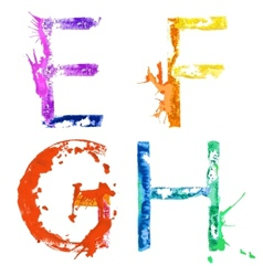 Paint splash font efgh vector