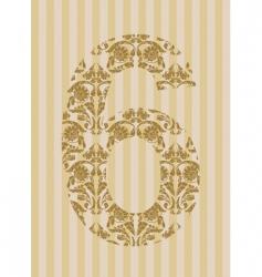 Floral font number vector