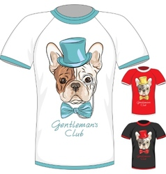 T-shirt with french bulldog dog gentleman vector